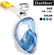DasMeer Snorkel Mask Full Face Panoramic 180°GoPro Compatible Mask with Easy Breathing Easy Draining Design an