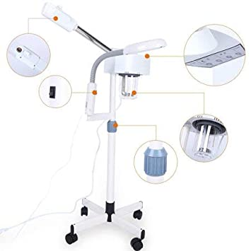 5x Magnifying Lamp with Facial Steamer, 2 in 1 LED Light Magnifying Floor Light Skincare Tattoo Manicure Beauty Spa Makeup Light with Rolling Wheel Stand US