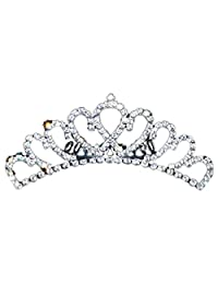 SODIAL Princess Crystal Rhinestone Comb Crown Tiara Elegant