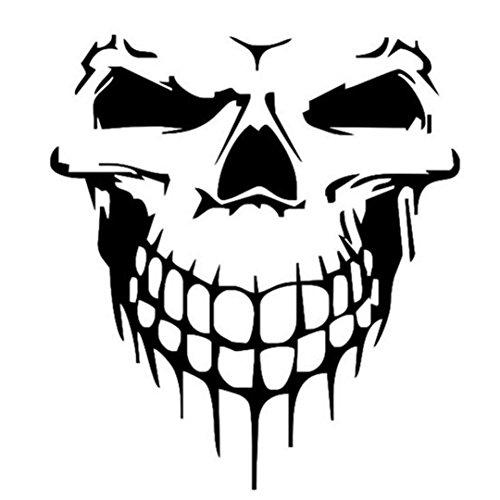 YJYdada Reflective Skull Car Stickers Styling Removable Waterproof Sticker Decoration -