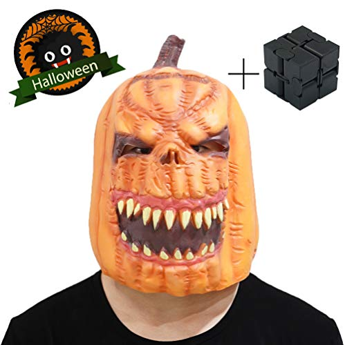Gory Halloween Mask Zombie Mask Pumpkin Headgear and Get a Creative Cube Gift,Ugly Creepy Mask Halloween Dress Up Suitable for Parties, Halloween Parade(Orange Pumpkin) ()