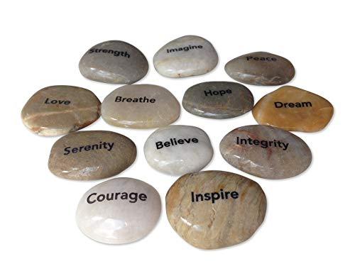 Engraved Inspirational Stones (12 Different Words) (Garden Stone Serenity)