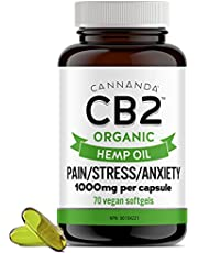 CB2 ORGANIC HEMP OIL (SOFTGEL CAPSULES) - Effective for Pain, Anxiety, & Stress - 1000MG Per Capsule with Curcumin - High Potency - Made in CANADA - 70 Softgels (70,000MG)