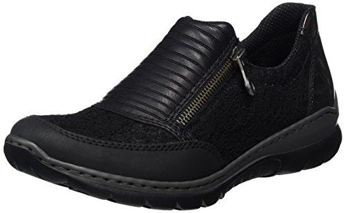 Noir black L3254 00 altsilber schwarz Femme Mocassins schwarz Rieker wTUqt7R