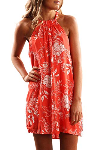 Fronage Women#039s Casual Sleeveless Floral Mini Dress Summer Beach Halter Neck Dresses Large Orange