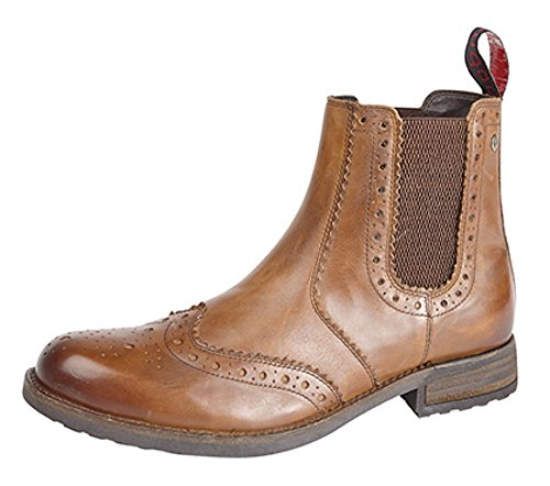 Para hombre funda de piel Twin Gusset Brogue ANKLE BOOT Burnished Tan