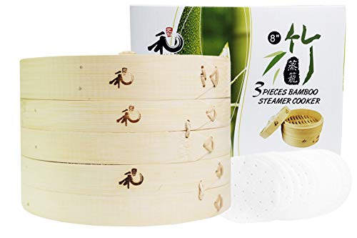 Yuho Bamboo Steamer 8 Inch, Individually Box, 2 Tiers & Lid, 10 Parchment Liners, 100% Natural Bamboo Perfect For Steaming Dumplings, Vegetables, Meat, Fish, Rice, Healthy Lifestyle (Steamer Basket Inch 8)