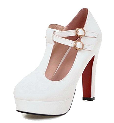 VogueZone009 Damen Rund Zehe Hoher Absatz Weiches Material Rein Schnalle Pumps Schuhe Weiß