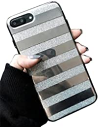 For iphone 7 Plus,Glitter Powder Phone Case Mirror Striped Pattern Back Cover (Silver)