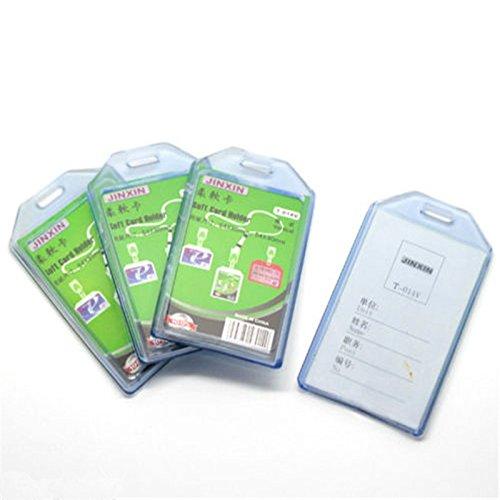 5PCS Blue Vertical Plastic ID Card Badge Waterproof Holder Cover Merssavo