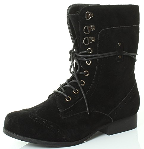 Goth Army Punk Worker Flat Combat Winter Lined Fur Lined Ankle Type Boots Womens Style Size Fur Khaki Military Shoes Khaki C wq7PnXF
