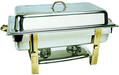 Update International (DC-6N) 8 Qt Stainless Steel Oblong Gold-Accented -