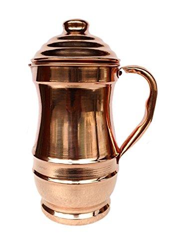 Rastogi Handicrafts Pure Copper Maharaja Jug Copper Pitcher for Ayurveda Health Benefit (Copper 4in Lid)