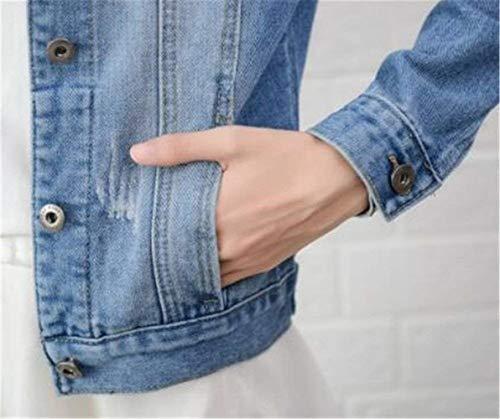 Lunga Grazioso Corto Breasted Manica Jeans Donna Azzurro Giaccone Cappotto Stlie Tasche Di Giacche Elegante Single Bavero Moda Autunno Anteriori Giacca Giovane Casual qx7wXOF6F