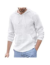 LOOKAA Men's Baggy Cotton Linen Hooded Pocket Solid Long Sleeve Retro T Shirts Tops