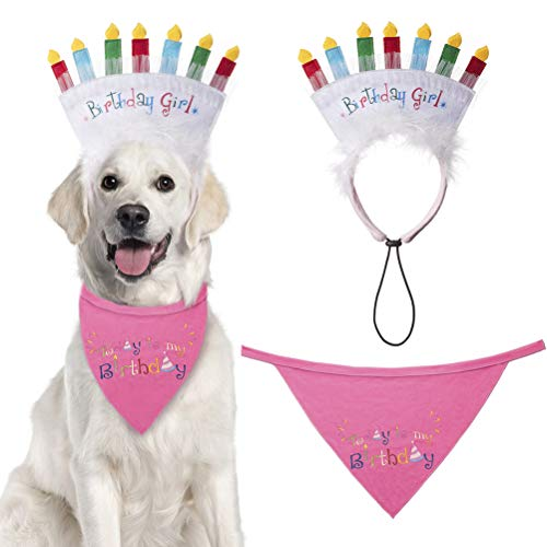 EXPAWLORER Dog Birthday Bandana with Birthday Candle Headband - Pet Birthday Gift Decorations Set, Soft Scarf & Adorable Hat for Party Accessory