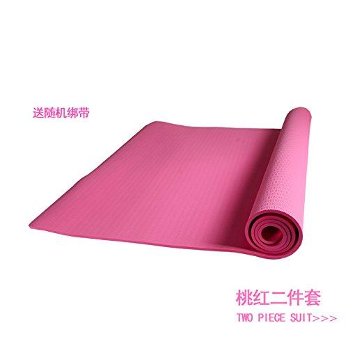 - YOOMAT Le Grand et Tasteless Yoga Double-épais Tapis TPE 6 8 Fitness Dance Pad 10 mm de Large Extensible 120cm Anti-Slip, 6Mm (Starter), 180X60Cm Belle Poudre (la Sangle) 118644