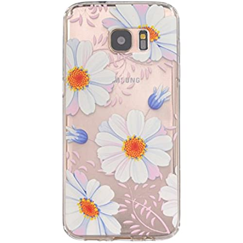 Gravydeals Pretty Daisy Relief Designed Ultra Slim Fit Clear TPU Protective Case Back Cover for Samsung Galaxy S7 Edge Sales