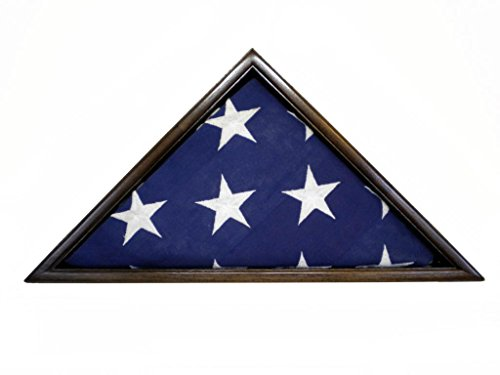 Frame Rosewood Handsome (Solid Black Walnut Flag Case 5 x 9.5' Veteran Memorial Burial Flag, USA Made, Fine Furniture Quality)