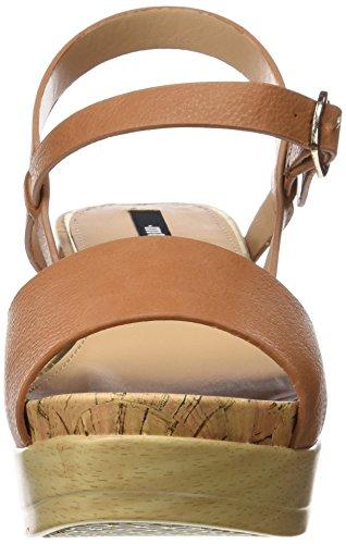 MTNG Collection Cuma, Sandalias con Plataforma Plana para Mujer Marrón (Vaqueta Cuero)