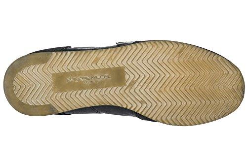 Philippe Model Chaussures Baskets Sneakers Homme en Daim Tropez Noir