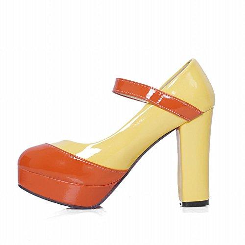 Carol Shoes Women's Assorted Colors Fashion High Heel Platform Mary Janes Shoes Orange+Yellow YFoXvVC