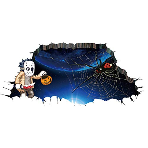 Boger 3D Waterproof Spider Web Halloween Art Sticker Tattoo Removable Wall Decals Home Decorative Wallpaper ()