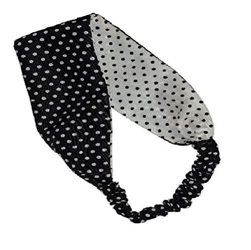 Mia Fashionable Reversible Headwrap On Elastic Band, White With Black Polka Dots And Black With White Polka Dots, For Women And Girls 1pc -