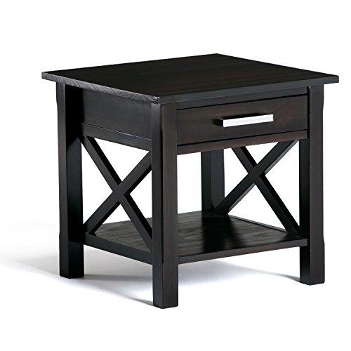 Superieur Simpli Home Kitchener Solid Wood End Table, Dark Walnut Brown