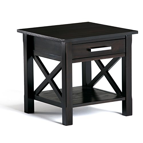 - Simpli Home 3AXCRGL002 Kitchener Solid Wood 21 inch wide Square Contemporary End Side Table in Dark Walnut Brown