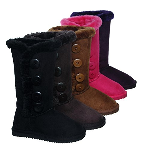 shoewhatever Comfy Shearling Slip-on Fur Lined Mid-calf Winter Boots for GIRLS