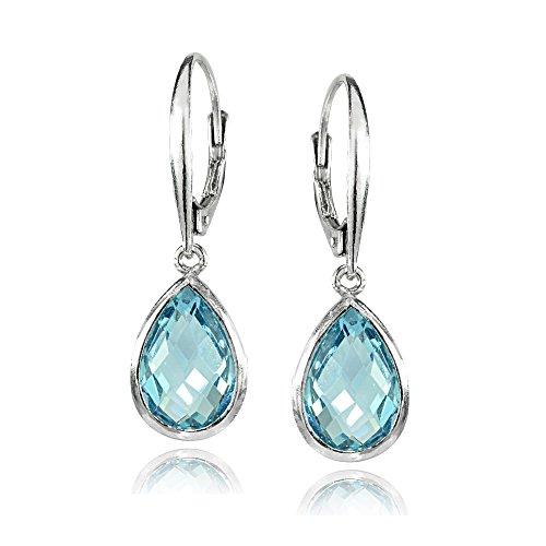 Sterling Silver Blue Topaz 12x8mm Bezel-Set Pear Teardrop Dangle Leverback - Bezel Earrings Drop Set