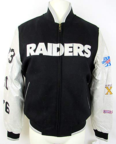 G-III Sports Oakland Raiders NFL Womens medium Embroidered Full Zip 3 Time Super Bowl Champions Wool Blend and Leather Jacket ARAD 76 M