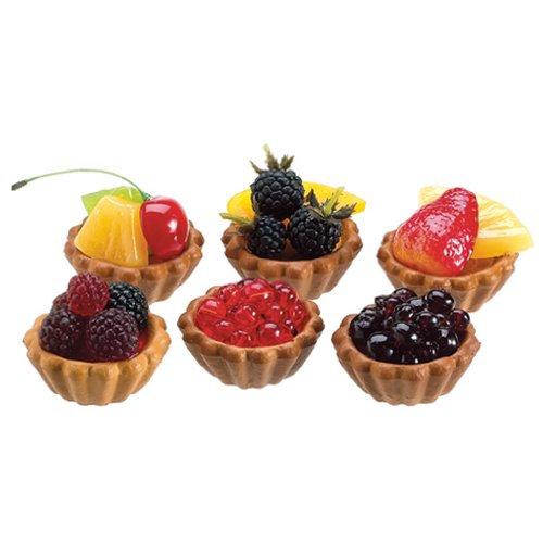 6.5''Lx4''W Artificial Bagged Berry & Fruit Tarts -Assorted (pack of 4) by SilksAreForever