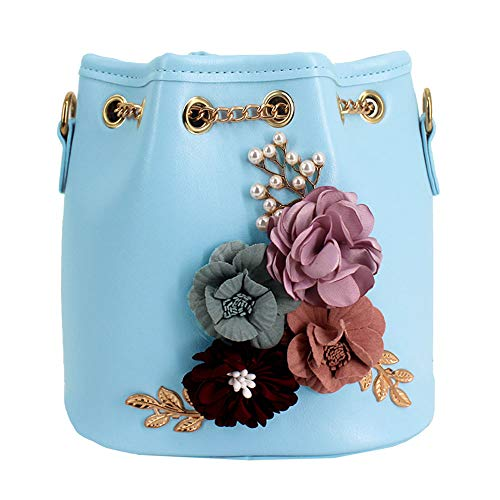 Sherry Bucket Bag Women Mini Drawstring Bucket Handbags Floral Crossbody Purse Faux Leather Travel Messenger Shoulder Bag (Light Blue)