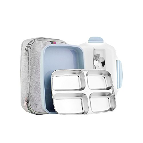 Slim Stainless Steel Square Lunch Box Set - Insulated Leak Proof Lunch Box for Adults and Kids, Non-toxic Tasteless safety, With Insulated Bag And Cutlery - Dishwasher Microwave Safe (Blue)