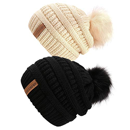 queenfur-women-knit-slouchy-beanie-chunky-baggy-hat-with-faux-fur-pompom-winter-soft-warm-ski-cap-2-pcs-blackbeige