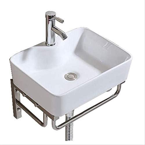 洗面ボール 小さなクロークセラミックホワイト容器シンクサポートウォールマウント 洗面器 (Color : White, Size : Free size)