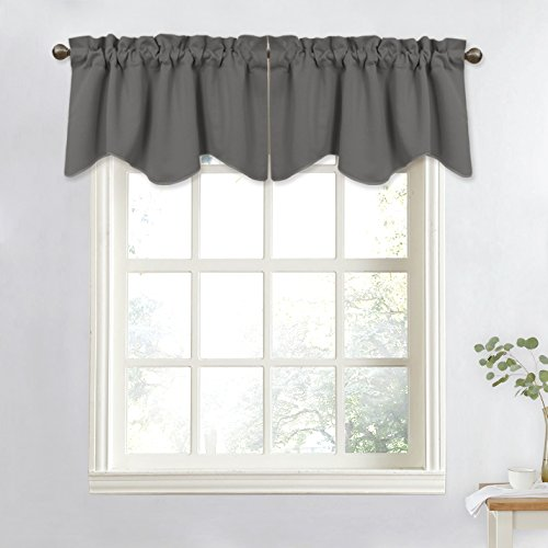 NICETOWN Bedroom Window Valance Blackout Tier - Home Decoration 52-inch by 18-inch Scalloped Valance Tier (Grey, 1 Panel) (Bedroom Valances)