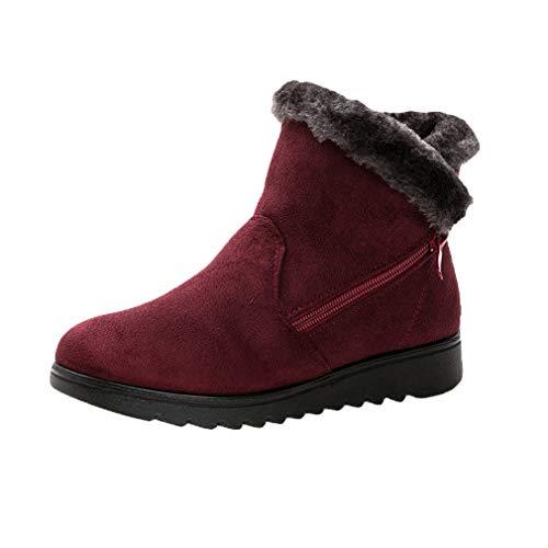 Rosso Warm Scarpe Lined Platform junkai Neve Casual Donna Boots Zeppa Pull Invernali On Caldi Stivaletti Vino da da Stivali PU18P