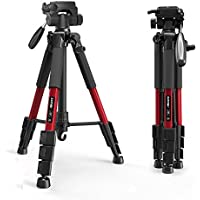 Camera Tripod, ZOMEi Compact Travel Tripod with 360?? Panhead and Quick Release Plate, 56-inch Aluminum Lightweight Camera Tripod with Carry Case for Canon Sony Nikon DSLR Cameras (Red)