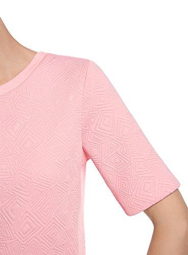 oodji Collection Mujer Suéter de Tejido Texturizado con Manga Corta Rosa (4000N)