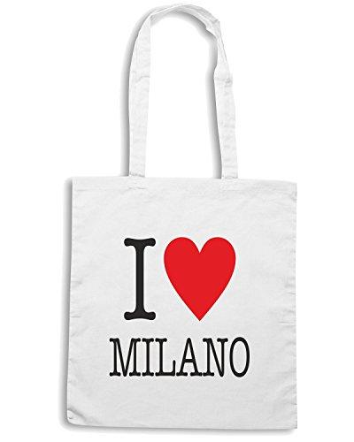 T-Shirtshock - Borsa Shopping T0009 I LOVE MILANO Bianco