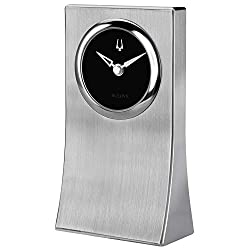 Bulova B5002 Obelisk Desk Clock, Brushed Aluminum Finish