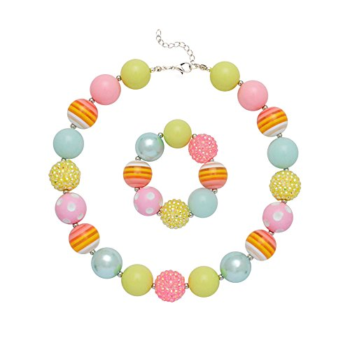 Wxbox Girls Multicolor Necklace Bracelet Set Kids Gifts for Party Chunky Bubblegum Beaded Necklace (Multicolor (Bubble Necklaces)