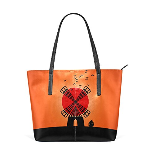 LEISISI Hand Painted Sunset Windmill Women's Leather Tote Shoulder Bags Handbags