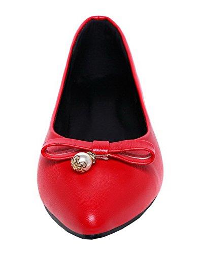 Basso Rosso Puro Donna Tirare Flats Ballet Chiusa Punta Luccichio Tacco VogueZone009 F0v1x0