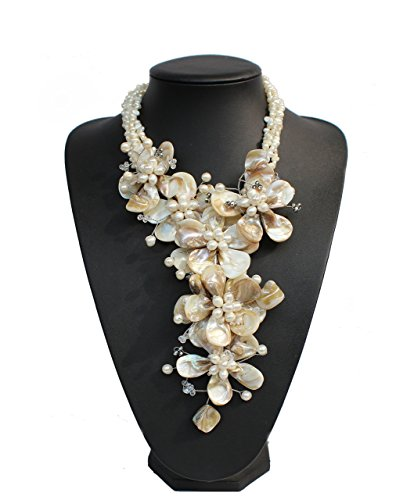 - Hand-woven Natural FW Pearl Mop Shell Flower Necklace Wedding Bridal Jewelry Statement Chunky Necklace
