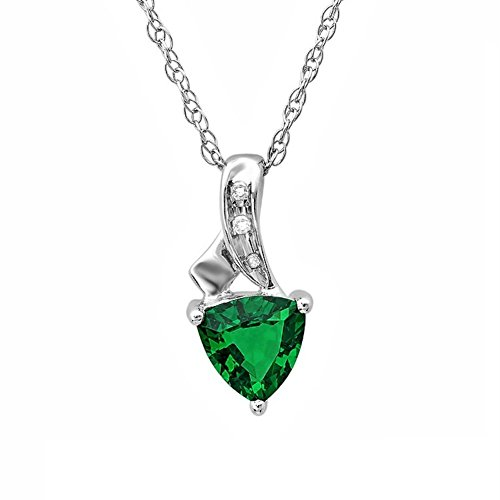 Amazon Lightning Deal 87% claimed: Trillion Created Emerald and Diamond Pendant-Necklace in Sterling Silver