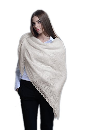 Russian Orenburg Shawl Goat Down 130x130 cm (51x51'') (Ecru) by Orenburg shawl